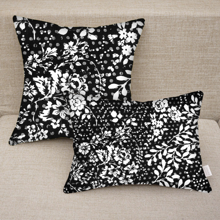 Black Decorative Pillow Cases : Custom Personalized Floral Black And White Print Decorative Pillow Case on Luulla