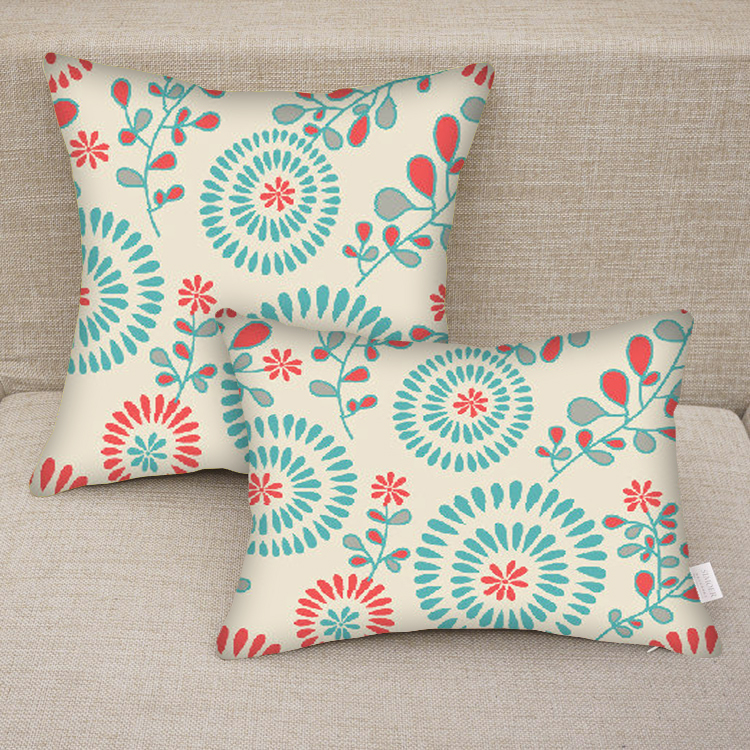 Custom Printed Throw Pillow Cases : custom personalized floral monogram blue print Decorative pillow case
